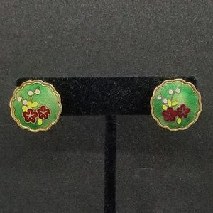 Green enamel cloisonné floral screwback earrings